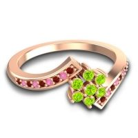 Simple Floral Pave Utpala Peridot Ring with Garnet and Pink Tourmaline in 18K Rose Gold