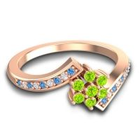 Simple Floral Pave Utpala Peridot Ring with Swiss Blue Topaz and Diamond in 18K Rose Gold