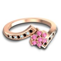 Simple Floral Pave Utpala Pink Tourmaline Ring with Black Onyx and Aquamarine in 14K Rose Gold
