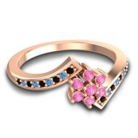Simple Floral Pave Utpala Pink Tourmaline Ring with Black Onyx and Swiss Blue Topaz in 18K Rose Gold