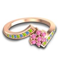 Simple Floral Pave Utpala Pink Tourmaline Ring with Peridot and Swiss Blue Topaz in 14K Rose Gold