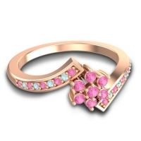 Pink Tourmaline Simple Floral Pave Utpala Ring with Aquamarine in 14K Rose Gold