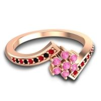 Simple Floral Pave Utpala Pink Tourmaline Ring with Ruby and Black Onyx in 18K Rose Gold