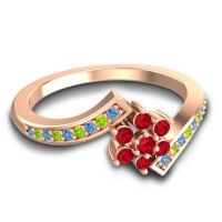 Simple Floral Pave Utpala Ruby Ring with Swiss Blue Topaz and Peridot in 14K Rose Gold