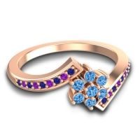 Simple Floral Pave Utpala Swiss Blue Topaz Ring with Blue Sapphire and Amethyst in 14K Rose Gold