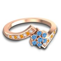 Simple Floral Pave Utpala Swiss Blue Topaz Ring with Diamond and Citrine in 18K Rose Gold
