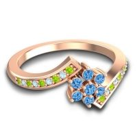 Simple Floral Pave Utpala Swiss Blue Topaz Ring with Peridot and Aquamarine in 18K Rose Gold