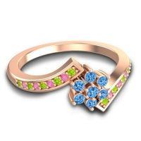 Simple Floral Pave Utpala Swiss Blue Topaz Ring with Peridot and Pink Tourmaline in 14K Rose Gold