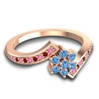 Simple Floral Pave Utpala Swiss Blue Topaz Ring with Pink Tourmaline and Garnet in 14K Rose Gold