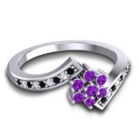 Simple Floral Pave Utpala Amethyst Ring with Black Onyx and Diamond in Platinum