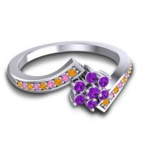 Simple Floral Pave Utpala Amethyst Ring with Citrine and Pink Tourmaline in 18k White Gold
