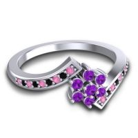 Simple Floral Pave Utpala Amethyst Ring with Pink Tourmaline and Black Onyx in Platinum