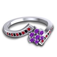 Simple Floral Pave Utpala Amethyst Ring with Ruby and Black Onyx in Palladium