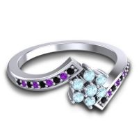 Simple Floral Pave Utpala Aquamarine Ring with Black Onyx and Amethyst in Palladium