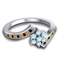 Simple Floral Pave Utpala Aquamarine Ring with Black Onyx and Citrine in Platinum