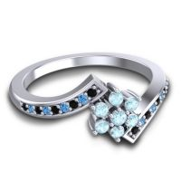 Simple Floral Pave Utpala Aquamarine Ring with Black Onyx and Swiss Blue Topaz in 14k White Gold