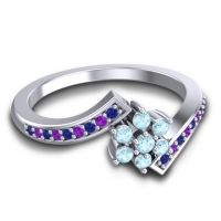 Simple Floral Pave Utpala Aquamarine Ring with Blue Sapphire and Amethyst in Platinum