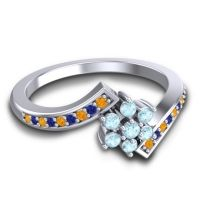 Simple Floral Pave Utpala Aquamarine Ring with Citrine and Blue Sapphire in 18k White Gold