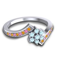 Simple Floral Pave Utpala Aquamarine Ring with Citrine and Pink Tourmaline in 14k White Gold