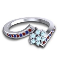 Simple Floral Pave Utpala Aquamarine Ring with Garnet and Blue Sapphire in 14k White Gold