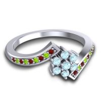 Simple Floral Pave Utpala Aquamarine Ring with Garnet and Peridot in Palladium