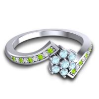 Simple Floral Pave Utpala Aquamarine Ring with Peridot and Diamond in Platinum