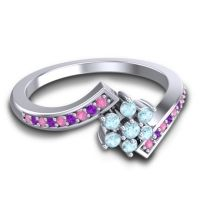 Simple Floral Pave Utpala Aquamarine Ring with Pink Tourmaline and Amethyst in Platinum