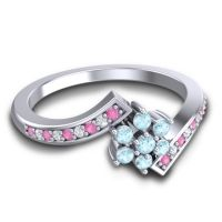 Simple Floral Pave Utpala Aquamarine Ring with Pink Tourmaline and Diamond in 14k White Gold