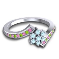 Simple Floral Pave Utpala Aquamarine Ring with Pink Tourmaline and Peridot in Palladium
