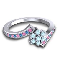 Simple Floral Pave Utpala Aquamarine Ring with Pink Tourmaline and Swiss Blue Topaz in Palladium