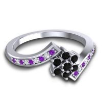 Simple Floral Pave Utpala Black Onyx Ring with Amethyst and Diamond in Platinum