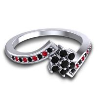 Simple Floral Pave Utpala Black Onyx Ring with Ruby in 14k White Gold