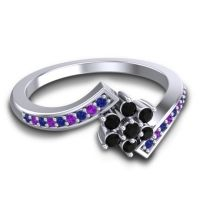 Simple Floral Pave Utpala Black Onyx Ring with Blue Sapphire and Amethyst in Platinum
