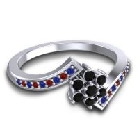 Simple Floral Pave Utpala Black Onyx Ring with Blue Sapphire and Garnet in Palladium