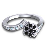 Simple Floral Pave Utpala Black Onyx Ring with Diamond and Aquamarine in Platinum