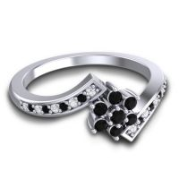 Simple Floral Pave Utpala Black Onyx Ring with Diamond in Platinum