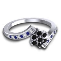 Simple Floral Pave Utpala Black Onyx Ring with Diamond and Blue Sapphire in 18k White Gold