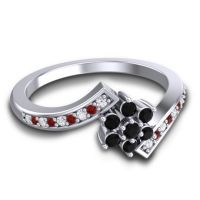 Simple Floral Pave Utpala Black Onyx Ring with Diamond and Garnet in 14k White Gold