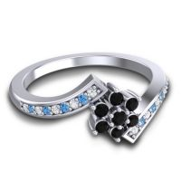 Simple Floral Pave Utpala Black Onyx Ring with Diamond and Swiss Blue Topaz in 18k White Gold
