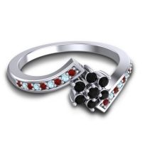Simple Floral Pave Utpala Black Onyx Ring with Garnet and Aquamarine in Platinum