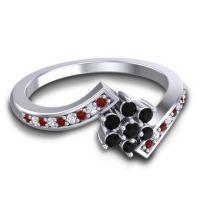 Simple Floral Pave Utpala Black Onyx Ring with Garnet and Diamond in Palladium