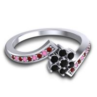 Simple Floral Pave Utpala Black Onyx Ring with Garnet and Pink Tourmaline in Platinum