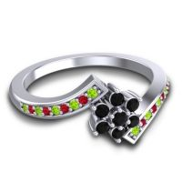 Simple Floral Pave Utpala Black Onyx Ring with Peridot and Ruby in Platinum