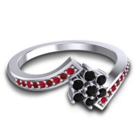 Simple Floral Pave Utpala Black Onyx Ring with Ruby and Garnet in 18k White Gold
