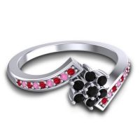 Simple Floral Pave Utpala Black Onyx Ring with Ruby and Pink Tourmaline in 18k White Gold