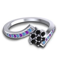 Simple Floral Pave Utpala Black Onyx Ring with Swiss Blue Topaz and Amethyst in 18k White Gold