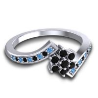 Simple Floral Pave Utpala Black Onyx Ring with Swiss Blue Topaz in 18k White Gold