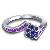 Simple Floral Pave Utpala Blue Sapphire Ring with Amethyst in 14k White Gold