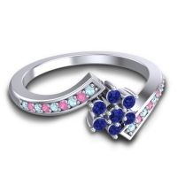 Simple Floral Pave Utpala Blue Sapphire Ring with Aquamarine and Pink Tourmaline in Platinum