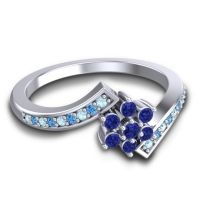 Simple Floral Pave Utpala Blue Sapphire Ring with Aquamarine and Swiss Blue Topaz in Palladium